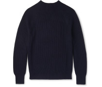 Ribbed Cotton-blend Mock-neck Sweater
