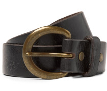 3cm Dark-brown Terrance Leather Belt - Brown