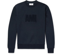 Logo-flocked Fleece-back Cotton-jersey Sweatshirt