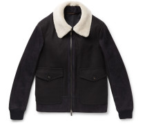 Shearling-panelled Wool Bomber Jacket - Black