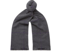 Fringed Prince Of Wales Checked Wool Scarf - Gray