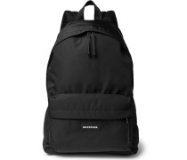 Explorer Logo-detailed Canvas Backpack - Black