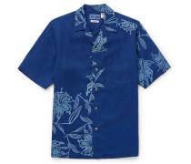 Camp-Collar Printed Lyocell Chambray Shirt