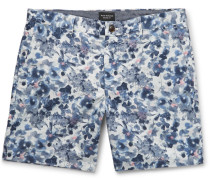 Baxter Slim-fit Floral-print Linen And Cotton-blend Twill Shorts