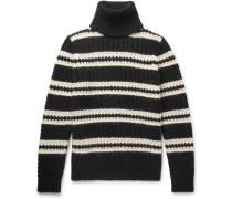 Oversized Striped Wool-blend Rollneck Sweater - Black
