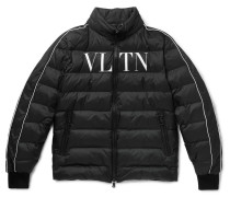Logo-print Quilted Shell Down Jacket - Black