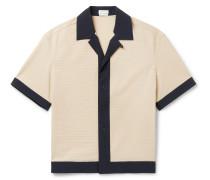 Camp-Collar Contrast-Trimmed Shell Shirt