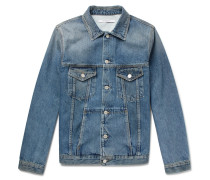 Logo-embroidered Distressed Denim Jacket
