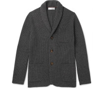 Slim-fit Shawl-collar Ribbed Cashmere Cardigan