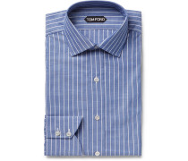 Blue Slim-fit Striped Cotton-poplin Shirt - Blue