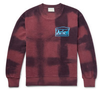 Logo-print Tie-dyed Cotton-terry Sweatshirt - Burgundy