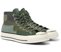 Chuck 70 Patchwork Canvas and Twill High-Top Sneakers