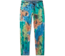 Slim-fit Painted Distressed Denim Jeans - Multi