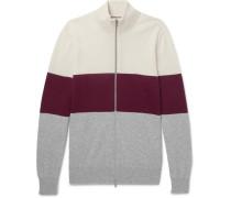 Colour-block Cashmere Zip-up Cardigan