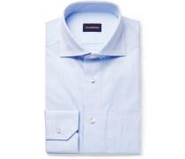 Light-blue Cutaway-collar Puppytooth Cotton Shirt
