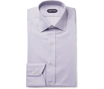 Lilac Slim-fit Cotton-twill Shirt