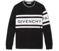 Logo-embroidered Striped Loopback Cotton-jersey Sweatshirt - Black