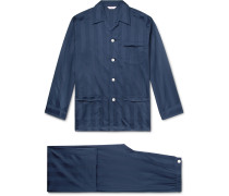 Lingfield Satin-Striped Cotton Pyjama Set