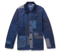 Patchwork Sashiko-stitched Indigo-dyed Cotton Jacket - Indigo