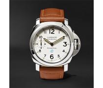 Luminor Marina Logo Acciaio 44mm Steel And Leather Watch