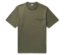 Embroidered Cotton-jersey T-shirt - Army green