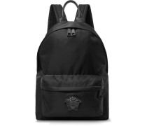 Logo-appliquéd Leather-trimmed Shell Backpack - Black