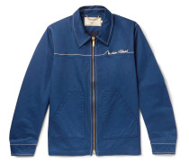 Elio Logo-embroidered Cotton-twill Blouson Jacket - Navy