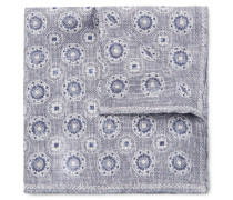 Reversible Printed Linen And Cotton-blend Pocket Square - Gray