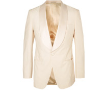 Harry's Cream Satin-trimmed Stretch-cotton Tuxedo Jacket