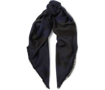 Fringed Camouflage Wool, Cotton And Silk-blend Jacquard Scarf