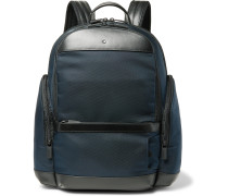 Nightflight Leather-Trimmed Canvas Backpack