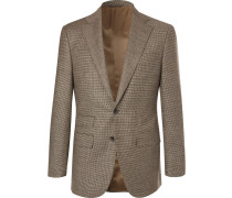 Grey Slim-fit Houndstooth Wool And Cashmere-blend Suit Jacket - Beige