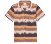 Camp-Collar Printed Cotton-Gauze Shirt