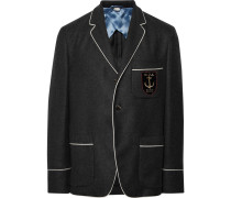 Dark-grey Slim-fit Embroidered Cashmere Blazer