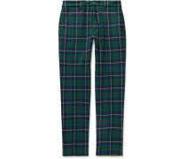 Slim-Fit Checked Wool-Blend Trousers