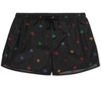 Short-length Printed Swim Shorts - Black