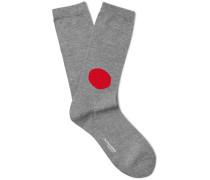 Intarsia Cotton-blend Socks - Gray