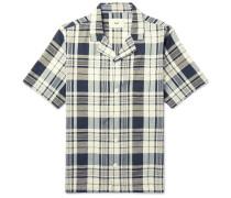 Camp-collar Checked Slub Cotton Shirt