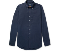 Easyday Slim-fit Button-down Collar Herringbone Cotton Shirt - Navy