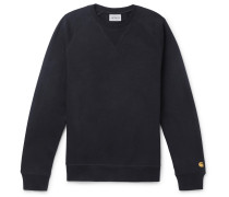 Chase Logo-embroidered Fleece-back Cotton-blend Jersey Sweatshirt - Navy