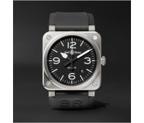 Br 03-92 42mm Stainless Steel And Rubber Watch