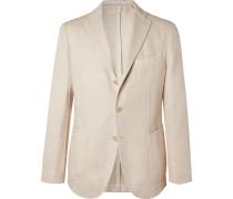 Slim-Fit Micro-Herringbone Cotton and Linen-Blend Blazer