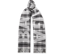 Logo-print Checked Wool Scarf - Gray