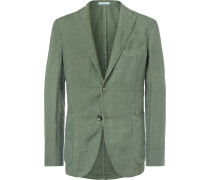Green Slim-fit Unstructured Linen Suit Jacket