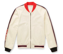 Printed Perforated-leather Bomber Jacket - White
