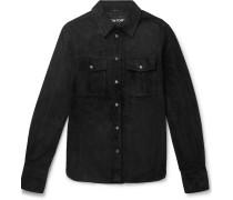 Slim-fit Suede Shirt Jacket - Black
