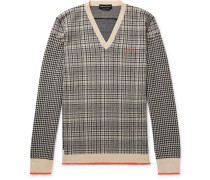 Houndstooth And Checked Wool Sweater - Black