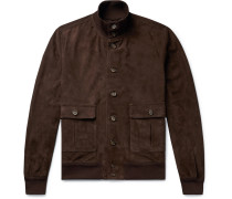Valstarino Slim-fit Unlined Suede Bomber Jacket - Dark brown