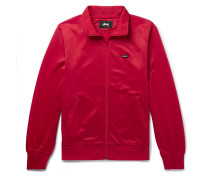 Striped Satin-jersey Track Jacket - Red
