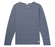 Striped Cotton-jersey T-shirt - Blue